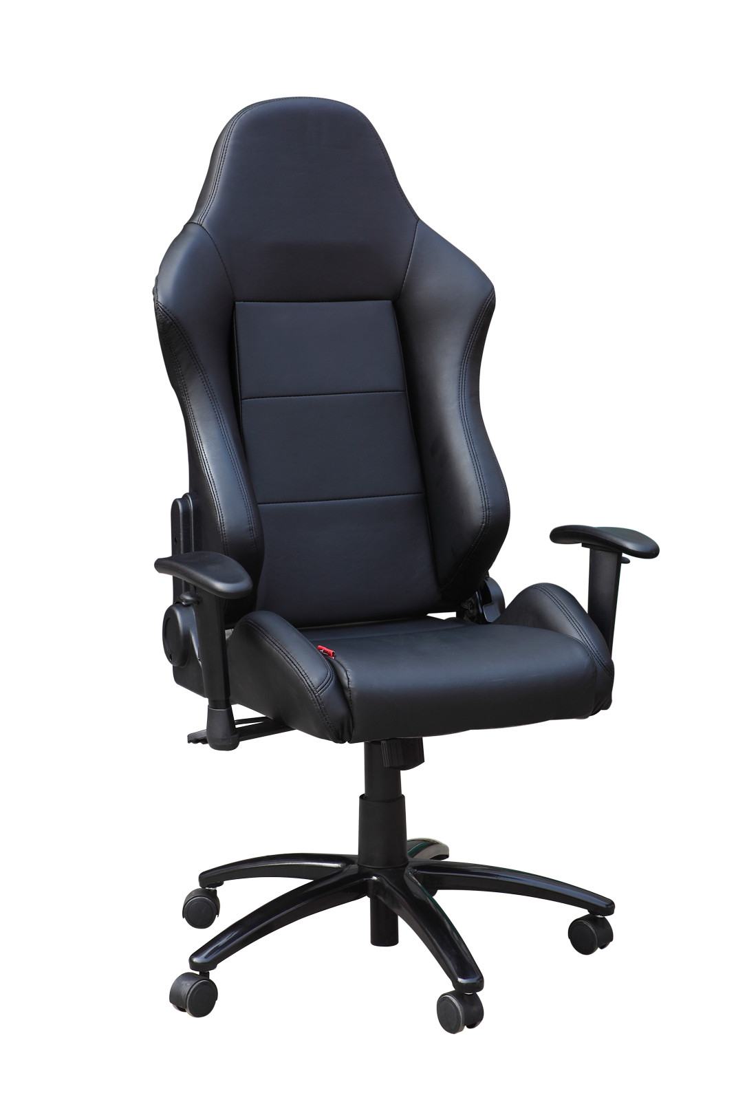 Commercial Black Leather Back Adjustable Office Chair With Nylon Castors